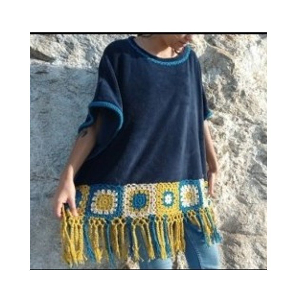 Poncho azul crochet multi